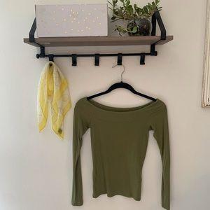 Olive Green Off Shoulder Hollister Long Sleeve